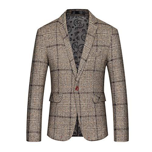 (Mens Slim Fit Sport Coat Casual One Button Plaid Notch Lapel Jacket Blazer)