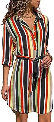 09a2aea842bbe CHZDLYQ Dress Long Sleeve Shirt Dress Summer Chiffon Boho Beach ...