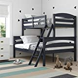 Dorel Living Brady Solid Wood Bunk Beds Twin Over Full with Ladder and Guard Rail, Graphite Blue