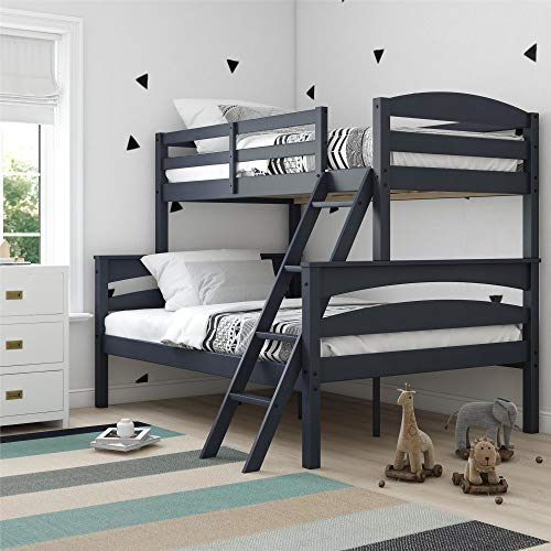 (Dorel Living DA6940BL Brady Solid Wood Bunk Beds with Ladder and Guard Rail, Twin Over Full, Graphite)
