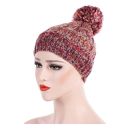 Clearance! Headwear Knit Beanie - Winter Thick Soft Warm Chunky Beanie Hats Skullcaps for Women Men(Wine, one-Size)