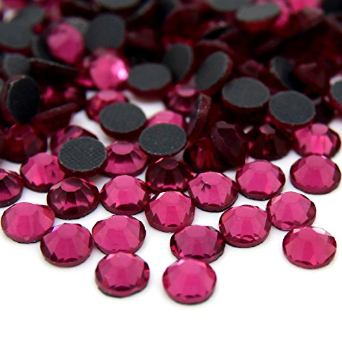 Zbella Crystal Hot Fix Rhinestones 10 Gross (1440 stones/pkg) Hotfix Rhinestones (ss6, (Hot Pink Crystal)