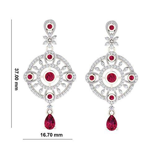 Libertini Boucle d'oreille argent 925 serti de Diamant et Rubis