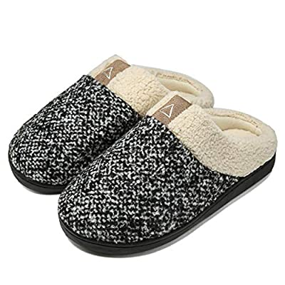 Aimony Womens Slippers Memory Foam Comfort Fuzzy Plush Lining Slip On House Shoes Indoor Outdoor Anti-Skid Rubber Sole JL-MX00101 7-8 | Slippers