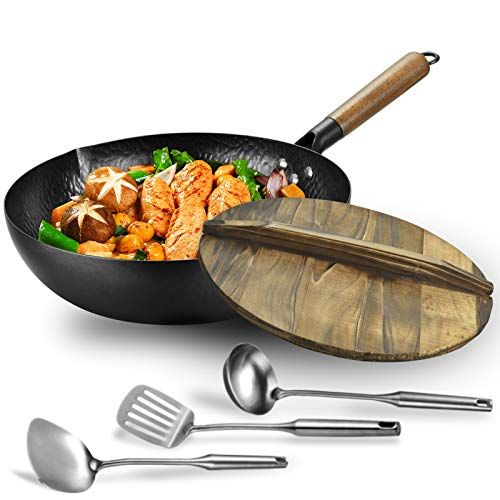 Carbon steel wok pan flat bottom pan with lid for electric, induction and gas stoves (12.5 inch wok,lid, 1 soup ladle and 2 spatulas included)
