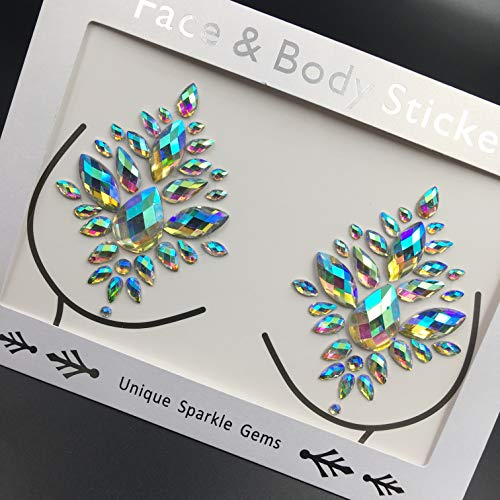 Nipple Chest gems Boobs Jewels Rhinestone BUKU Music Art Project Stickers Tattoo Nipple Crystal sticker For Halloween Party Club -