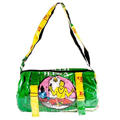 Shakti Milan Yoga Sporttasche Shiv Pujari grün Upcycled Tasche recycled Reissack Schultertasche Schultasche Umhängetasche Meditation
