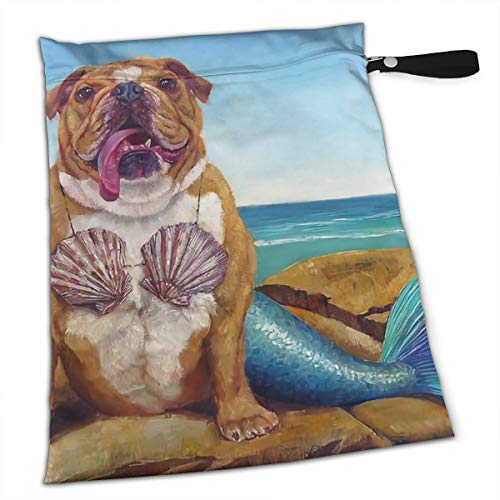Dog Sanitary Garments - Brown British Bulldog Mermaid Sexy Interesting For Swimsuit And Towels Waterproof Kids Baby Boy Clothes Diaper Hanging Reusable Menstrual Sanitary Cloth Pads Handle Wristlet Portable Wet-dry Bag