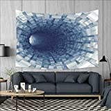 smallbeefly Outer Space Customed Widened Tapestry Endless Tunnel with Fractal Square Shaped Segment Digital Dimension Artwork Print Wall Hanging Tapestry 90''x60'' Gray