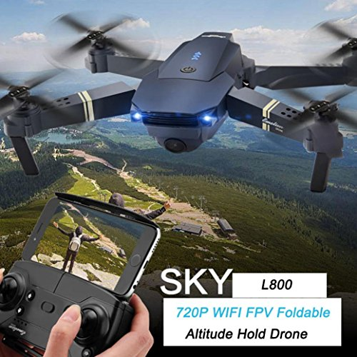 Inverlee 2.4G 4CH 6-Axis Gyro 720P WIFI FPV Foldable Arm Selfie Drone Quadcopter w/ High Hold Mode (Black) by Inverlee