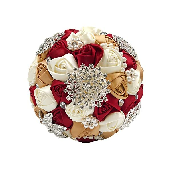 Abbie Home Bride Wedding Bouquet in Burgundy & Champagne – White Rose with Pearls and Rhinestone Brooches Accessories-Multi Color Selection (453RG)