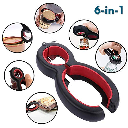 (Sunsbell 6-in-1 Multi Opener, Jar, Bottle, Can Opener, Bag Opener, Lid Twist Off, Soda Bottle Cap Opener for Weak Hands)