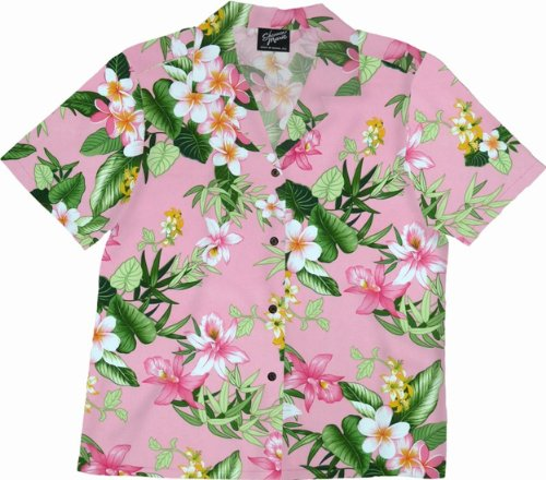 RJC Womens Orchid Plumeria Camp Shirt Pink 3X Plus