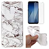 for Samsung Galaxy A8 2018 A530 Marble Case with Screen Protector,OYIME Creative Glossy Gray & White Marble Pattern Design Protective Bumper Soft Silicone Slim Thin Rubber Luxury Shockproof Cover