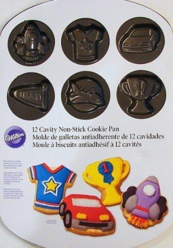 Wilton 12 Cavity Non-Stick Cookie Pan Boy's Theme Race Car, Trophy More