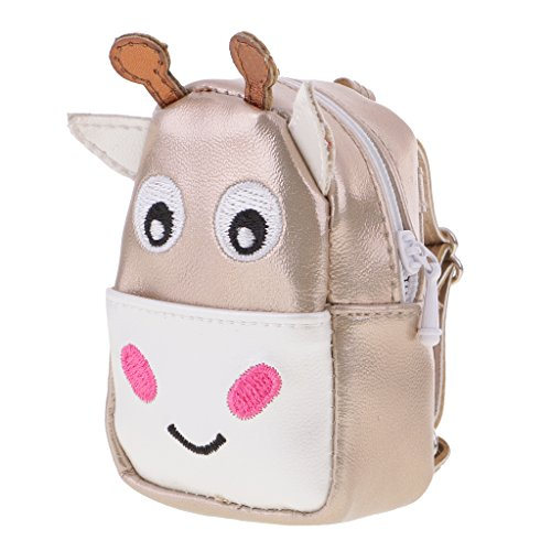 Dovewill Adorable Zipper Cute Cattle Backpack Schoolbag for 12'' OOAK Takara Blythe Doll Neo Blythe Nude Doll Clothing Accessories Champagne Gold