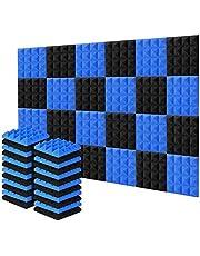 Acolchado Insonorizado, AGPtEK 24 Paquetes de Espuma Insonorizadora 25x25x5CM Paneles de Espuma Acústica Azul y Negra, Ideales para Grabar en Estudios, Salas de TV, Habitaciones de Niños, Oficinas y Grabaciones de Podcasts