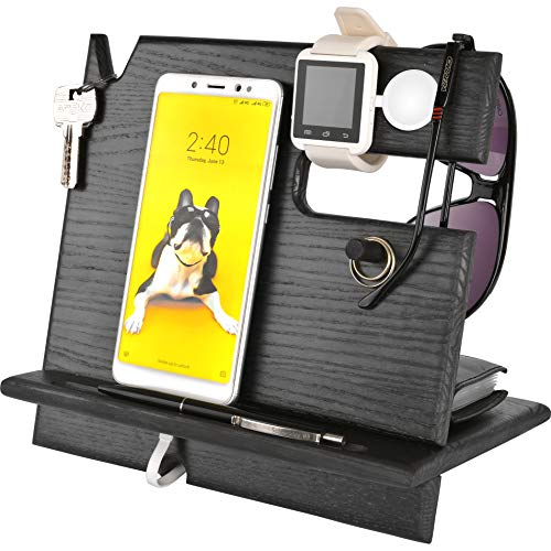 - Cell Phone Stand Watch Holder. Men Wireless Device Dock Organizer Wood Mobile Base Nightstand Charging Docking Station. Women Accessories Wooden Storage. Funny Bed Side Caddy Valet Happy Birthday Gift