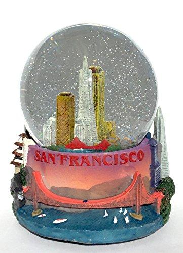 San Francisco Cityscape 100mm Musical Snow Globe Golden Gate Bridge Skyline replica Glitterdome by Think Crate