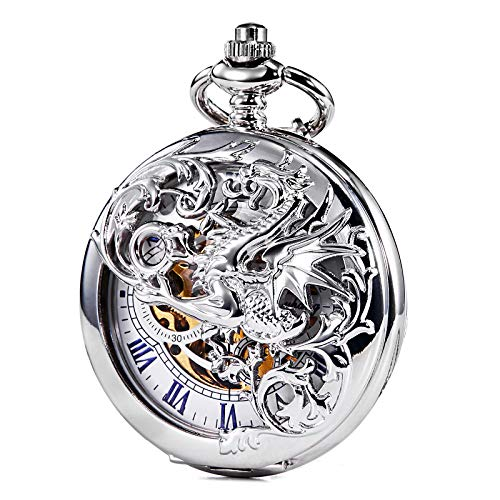 TREEWETO Mechanical Pocket Watch - Dream Dragon Skeleton Half Hunter Double Open Silver -