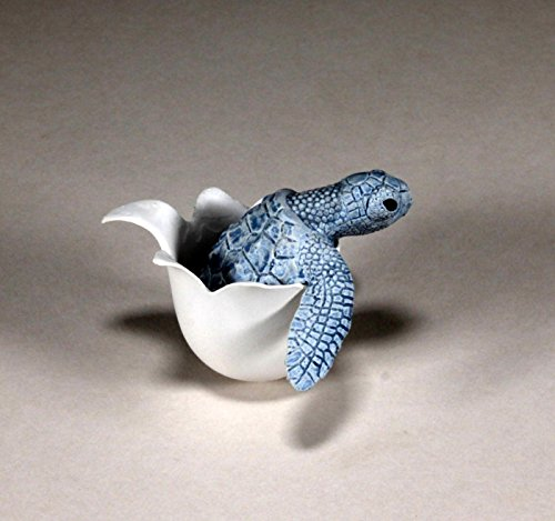 TURTLE HATCHING from EGG by JOHN PERRY Blue Mobile rocking sculpture figurine