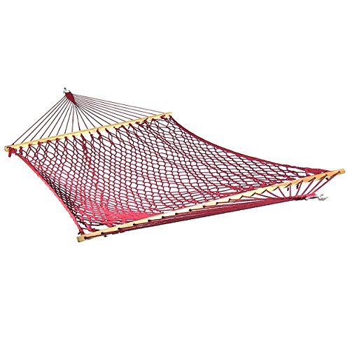 Sunnydaze Extra Large Caribbean Soft-Spun Polyester Rope Hammock with Spreader Bars, Red, 450 Pound Capacity