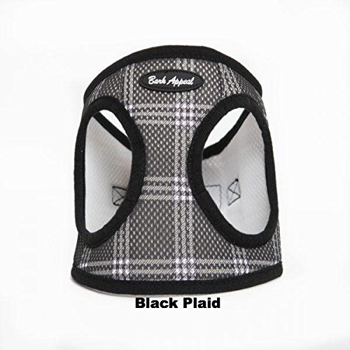 Bark Appeal Plaid Mesh Step in Harness (Small, Black)