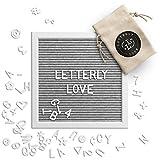 Letterly Love Letter Board - 10x10 White Frame - Grey Felt Letterboard