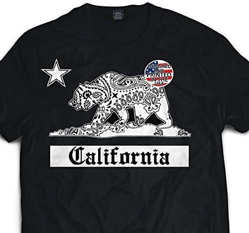 Men's California White Bandana Bear T shirt Urban Wear for sale  Delivered anywhere in USA