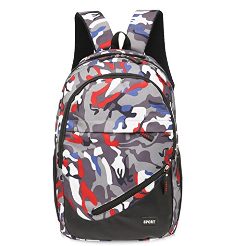 Recreation x Blue Red School Men 18 Backpack Women Satchel Girls 46cm School Camouflage Bag Canvas 31 x Boys Bags Travel SHOBDW HTwxnRYA