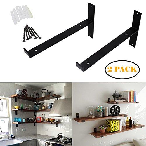 OVOV Pack of 2 Iron Shelf Brackets Decorative Wall Hangers Mounted Floating Shelf Hanging Angle lip (Black) 10