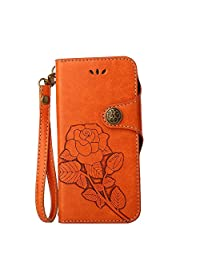 SITCO Flip Wallet Leather Case Retro Phone Case Rose Cover Credit Card Slots for Samsung Galaxy A5 (2017)