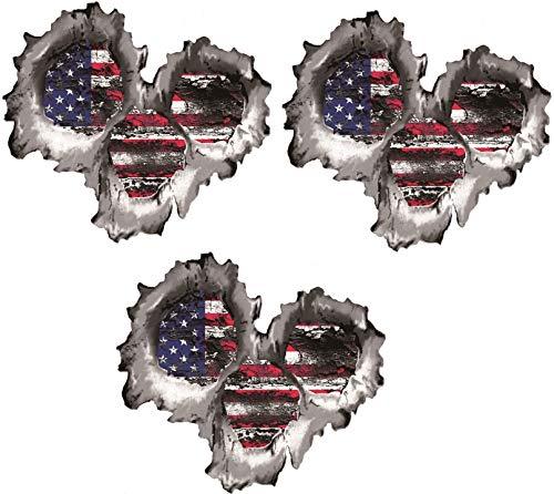 Three (3) BEST SELLER American Flag Bullet Holes 3D | Hard Hat Stickers - USA Welder Electrician Scaffolder Welding EkUnion Stickers