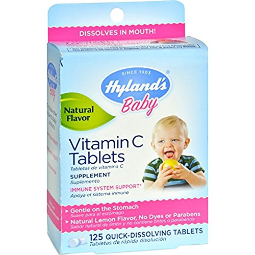 Hyland's Baby and Kids Vitamin C Supplement, Natural Lemon Flavored, 125 Quick Dissolving Tablets