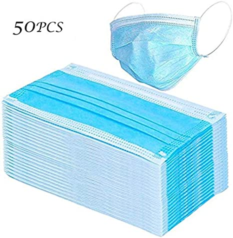 50 Pcs Masks for dust protection,Medical Masks Disposable Face Masks with Elastic Ear Loop Disposable Dust & Filter Safety Mask