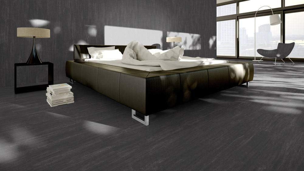 Skaben Vinylboden massiv Life Click 55 Beton Schwarz Fliese 4V zum Klicken 1,86m/²