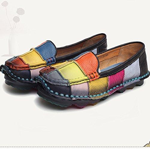 Vogstyle Damen Kontrastfarbe Runde Schuhspitze Bequem Slipper Schön Weich Leder Schuhe Art 1 Schwarz