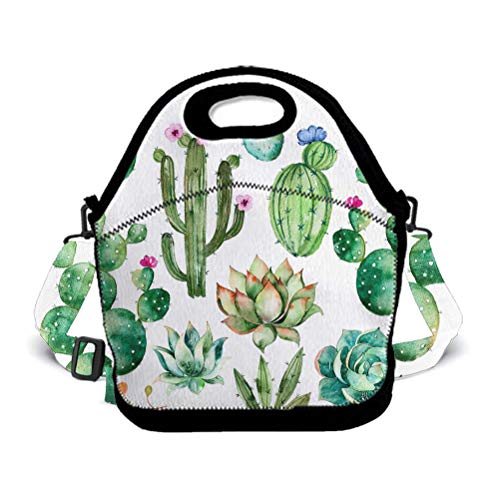 BOYO ME Boys Girls Insulated Neoprene Lunch Bag Tote Handbag Lunchbox with Shoulder Strap, Food Container Gourmet Tote Pouch for School Work Office, Watercolor Plants Cactus