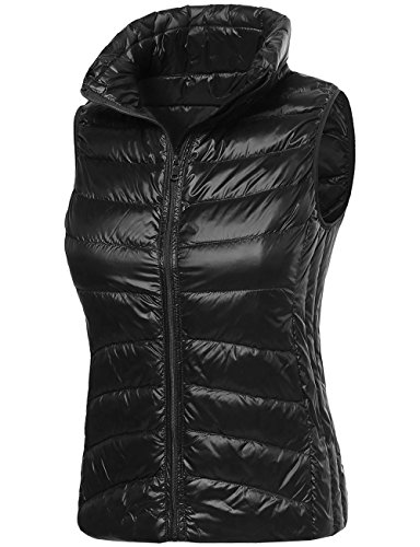 Timeless Down Vest - DOUBLDO Womens Ultra Lightweight Goose Down Filled Cozy Puffer Vest-M-BLACK