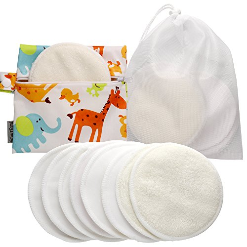 Best Washable Organic Bamboo Nursing Pads(8 Pack) with Laundry and Cloth Bag by SmartFami, Reusable Breast Pads, Ultra Soft, Waterproof, Leakproof Bra Pads, Absorbent, Breastfeeding Pads
