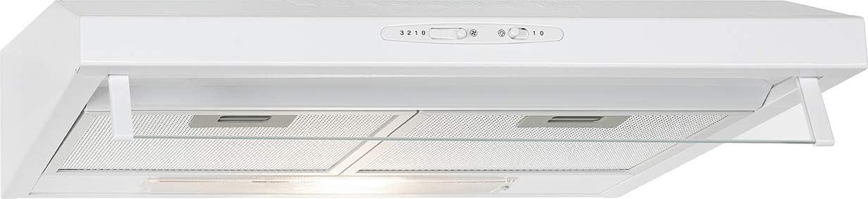 Bomann DU622 - Campana extractora 60 cm, recirculación de aire o por conducto, 3 niveles potencia, filtros extraibles de aluminio lavables, blanca