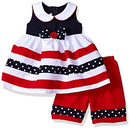 Bonnie Baby Baby Girls Nautical Dress and Legging Set, red/White/Blue, 0-3 Months ()