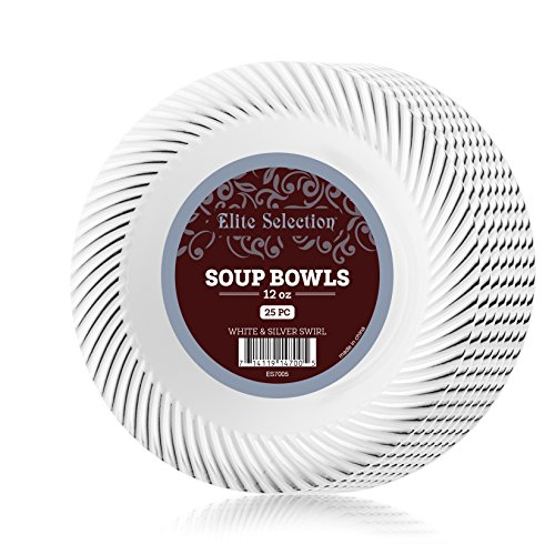 Swirl White Salad Plate - Elite Selection Pack Of 25 White Salad / Dessert Disposable Party Plastic Plates With Silver Swirl 7.5-Inch