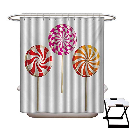 BlountDecor Colorful Shower Curtains with Shower Hooks Realistic Sugary Treats on Sticks Spiral Round Lolly Pops Delicious Tasty Snacks Fabric Bathroom Set with Hooks W54 x L78 Multicolor