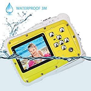 Kids Camera, Waterproof Digital Camera for Kids, 12MP HD Underwater Action Camera Camcorder for Boys and Girls with 3M Waterproof, 2.0 Inch LCD Screen, 8x Digital Zoom, Flash and Mic(Yellow)