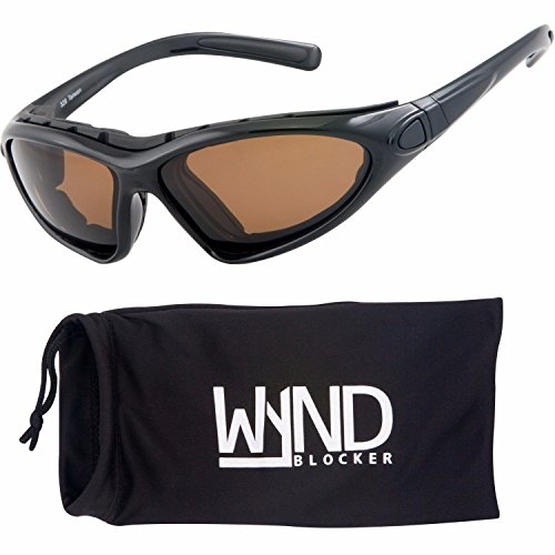 WYND Blocker Vert Motorcycle & Boating Sports Wrap Around Polarized Sunglasses (Black / Amber - Sunglasses Resistant Impact
