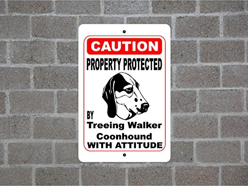 Teisyouhu Yard Fence Garage Decorative Sign Property Protected By Treeing Walker Coonhound Guard Dog Warning Breed Pet Sign Safety Sign Metal Pet Sign Gift