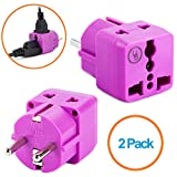 European Plug Adapter by Yubi Power 2 in 1 Universal Travel Adapter with 2 Universal Outlets - 2 Pack - Purple - Shucko Type E / F for France, Germany, Spain, Sweden, Turkey, Ukraine and More!