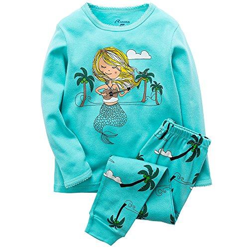 Price comparison product image B.GKAKA Big Girls Pajamas Mermaid Kids Long Sleeve Sleepwear 100% Cotton Size 8Y