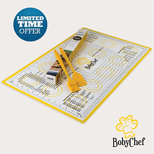 Baking Mat By BobyChef – 100% Food Grade Silicone – Pastry Mat With Measurements – 23''x15'' Large Size – Non Stick Sheet With Round Corners – Cooking Brush & Spatula Included